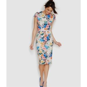 Betsy Johnson Floral Print Midi Scuba Sheath Dress